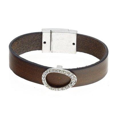 BIBA ARMBANDEN Biba 5897-Khaki Kunstleder-Armband, das ein tropfenförmiges Element mit Swarovski crystalsas in MHz.