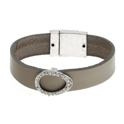 BIBA ARMBANDEN Biba 5897-Taupe Lederimitat Armband enthält eine tropfenförmige Element mit Swarovski crystalsas in MHz.