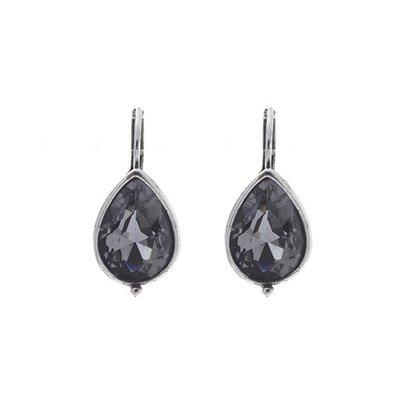 BIBA OORBELLEN Ohrring-8015.Bl.Dia. Silber Tropfenohrringe mit Swarovski Kristall Black Diamond.