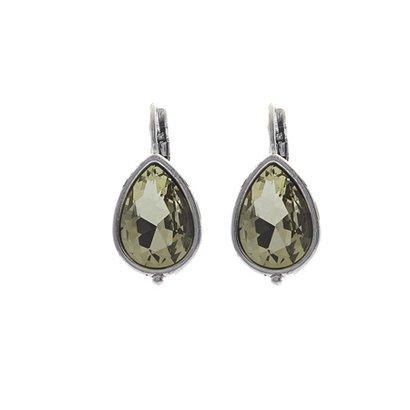 BIBA OORBELLEN Ohrring-8015.Olivine. Silber Teardrop Ohrringe mit Swarovski Kristall Olivine.