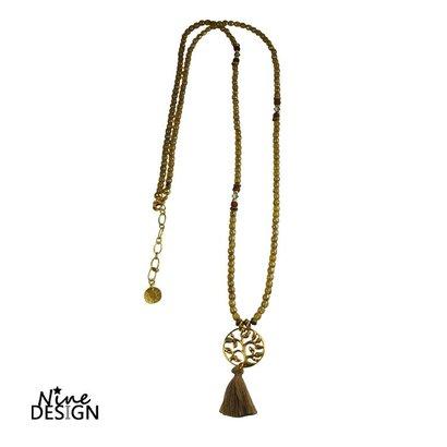 ND Halskette Braun, Gold, Glas Baum des Lebens mit Quaste. Gold.