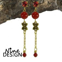 ND-Oorhangers Diva Gold Red.