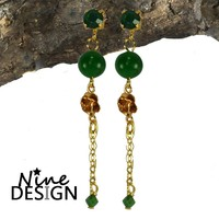 ND-Oorhangers Rosa Gold Green.