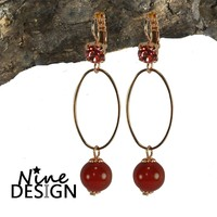ND Ania Earrings Rose Gold Red