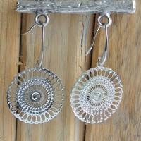 Lace silver earrings 24x40mm Filligrain