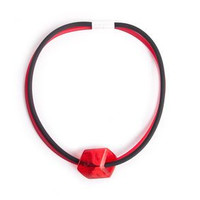 CUBE COLLECTION CUBE NECKLACE Red Black 1 Cube