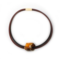 CUBE COLLECTION CUBE KETTING Zwart Bruin met 1 Cube