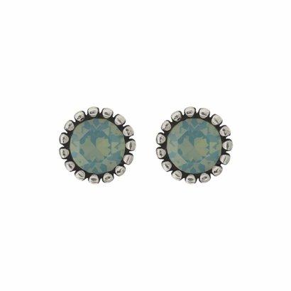 BIBA OORBELLEN Biba Ohrringe Silber mit einem tulpenförmigen Rippen zurück und einen Stein Swarovski Pacific Opal