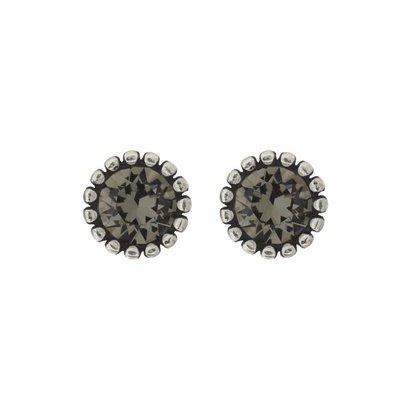 BIBA OORBELLEN Biba Ohrringe Silber mit einem tulpenförmigen Rippen zurück und einen Stein Swarovski Black Diamond