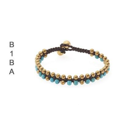 BIBA ARMBANDEN Biba geknotet Armband Gold erhältlich mit Strass in Türkis und Weiß