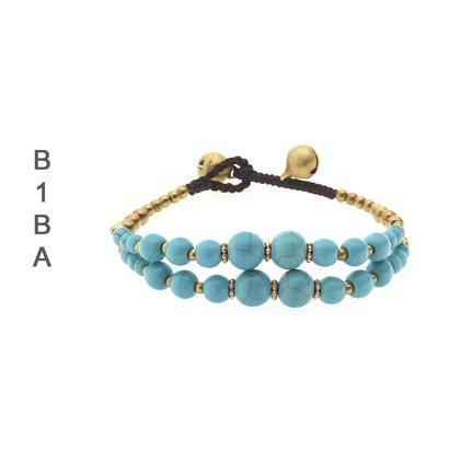 BIBA ARMBANDEN Biba verknoteten 2-reihige Armband Gold mit verfügbaren Steine in Türkis und Weiß