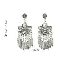 BIBA OORBELLEN Biba Earrings Metal Eastern with feathers