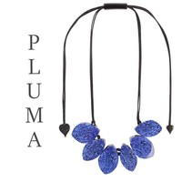 ZSISKA DESIGN Zsiska Design Necklace 6 BEADS PLUMA BLUE