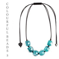 ZSISKA DESIGN Zsiska Design Ketting 6 COLOURFUL BEADS 2 TEAL