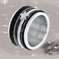 IXXXI JEWELRY RINGEN iXXXi KOMBINATION SILVER RING LEATHER 1018