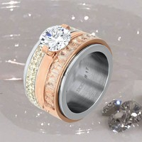 IXXXI JEWELRY RINGEN iXXXi COMBINATION RING 12mm SILVER SNOW GLITTER 1023