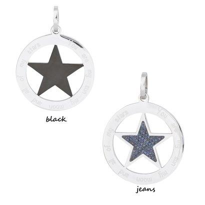 iXXXi JEWELRY IXXXI JEWELRY PENDANT STAR JEANS BLACK STAINLESS STEEL KIES HIER DE KLEUR