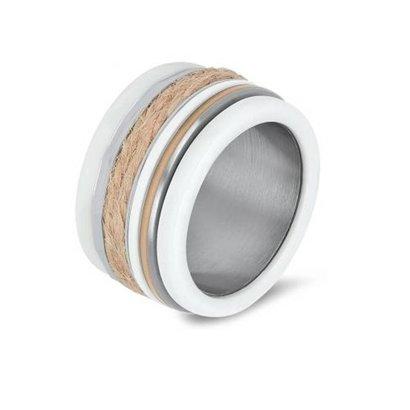 IXXXI JEWELRY RINGEN iXXXi COMBINATIE RING 12mm SILVER CERAMIC 1033 SAND ROPE