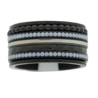 IXXXI JEWELRY RINGEN iXXXi COMBINATIE RING 12mm ZWART WHITE STONES BLACK 1044