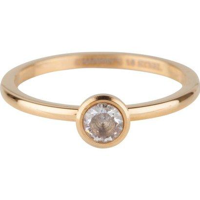 CHARMIN'S Charmins Shiny STYLISH Bright Stahl Stahl Setzring R489 Gold von der Modeschmuckmarke Charmin's.