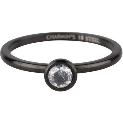CHARMIN'S Charmins Shiny STYLISH Bright Stahl Stahl Setzring R491 Schwarz von der Modeschmuckmarke Charmin's.