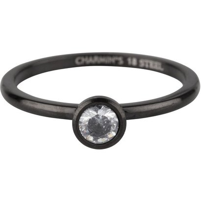 CHARMIN'S Charmins Shiny STYLISH Bright Steel stalen stapelring R491 Black van het fashion sieradenmerk Charmin's.