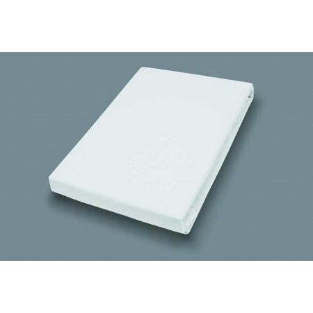 Socratex Premium Jersey Spannbetttuch mit Elastan   extra hoch   Weiß