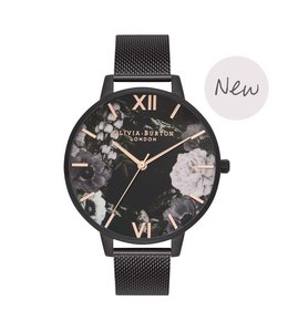 Olivia Burton After Dark Floral Matte Black, Rose Gold & Black Mesh Watch
