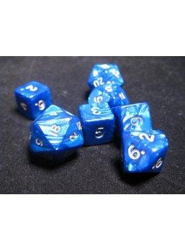 Chessex Cheat Dice Pearlescent Blue/gold D20/D10/D6 Dobbelsteen Set (7 stuks)