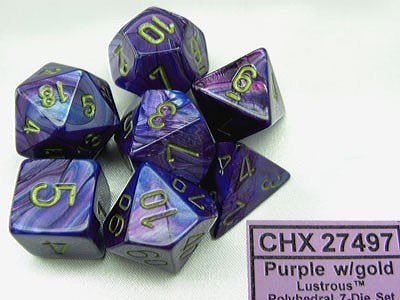 Chessex Lustrous Purple/gold Polydice Dobbelsteen Set (7 stuks)