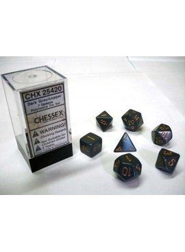 Chessex Opaque Dark Grey/copper Polydice Dobbelsteen Set (7 stuks)
