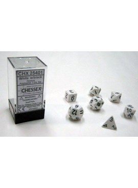 Chessex Opaque White/black Polydice Dobbelsteen Set (7 stuks)