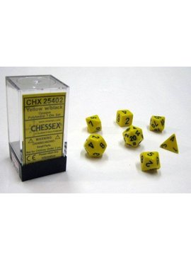Chessex Opaque Yellow/black Polydice Dobbelsteen Set (7 stuks)