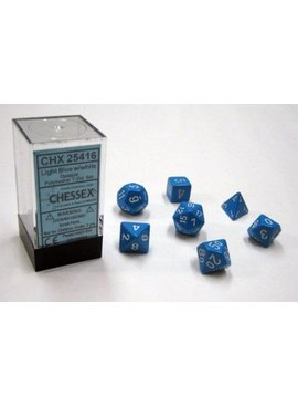 Chessex Opaque Light Blue/white Polydice Dobbelsteen Set (7 stuks)