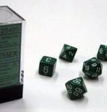 Chessex Opaque Green/white Polydice Dobbelsteen Set (7 stuks)
