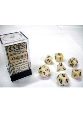 Chessex Opaque Ivory/black Polydice Dobbelsteen Set (7 stuks)