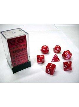 Chessex Opaque Red/white Polydice Dobbelsteen Set (7 stuks)