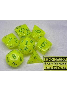 Chessex Vortex Electric Yellow/green Polydice (7 stuks)