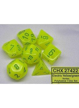 Chessex Vortex Electric Yellow/green Polydice Dobbelsteen Set (7 stuks)