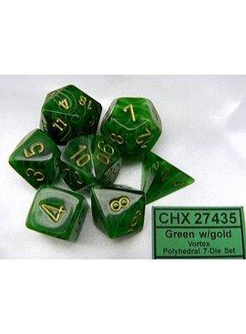 Chessex Vortex Green/gold Polydice Dobbelsteen Set (7 stuks)