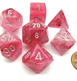 Chessex Ghostly Glow Pink/silver Polydice Dobbelsteen Set (7 stuks)