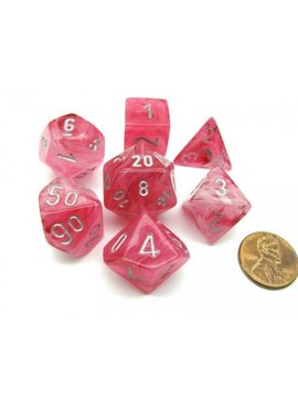 Chessex Ghostly Glow Pink/silver Polydice Dobbelsteen Set (7 stuks)