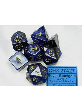 Chessex Scarab Royal Blue/gold Polydice Dobbelsteen Set (7 stuks)