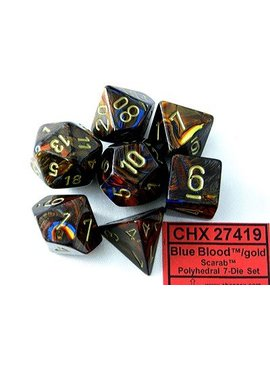 Chessex Scarab Blue Blood/gold Polydice Dobbelsteen Set (7 stuks)