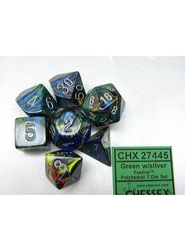 Chessex Festive Green/silver Polydice Dobbelsteen Set (7 stuks)