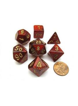 Chessex Glitter Ruby/gold Polydice Dobbelsteen Set (7 stuks)