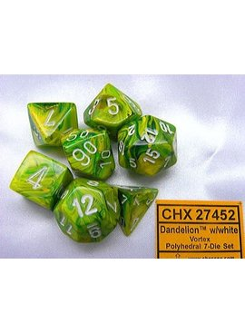 Chessex Vortex Dandelion/white Polydice Dobbelsteen Set (7 stuks)