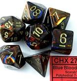 Chessex Scarab Blue Blood/gold Polydice Dobbelsteen Set (7 stuks)