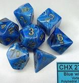 Vortex Blue/gold Polydice Dobbelsteen Set (7 stuks)