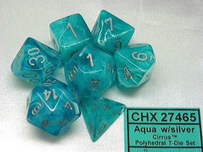 Cirrus Aqua/silver Polydice Dobbelsteen Set (7 stuks)